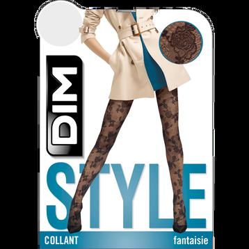 Collant noir motif dentelle veloutée Style 33D-DIM