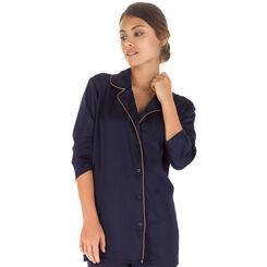 Chemise de pyjama manches longues bleu marine Femme-DIM