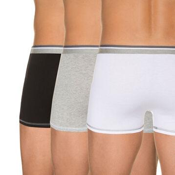 Lot de 3 boxers blanc, gris chiné, noir 100% coton-DIM