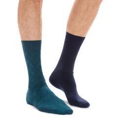 Lot de 2 paires de chaussettes bleu marine et vertes Homme-DIM