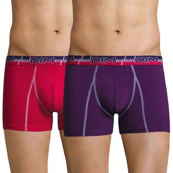 Lot de 2 boxers 3D Flex Dynamic cassis et fuchsia-DIM
