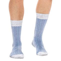 Chaussettes gris chiné à chevrons en coton Homme-DIM