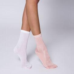 Lot de 2 paires de chaussettes brillantes roses et blanches-DIM