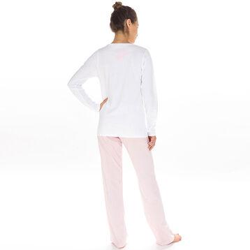 T-shirt de pyjama manches longues blanc 100% coton Femme-DIM
