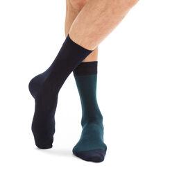 Lot de 2 paires de chaussettes bleues rayures vertes Homme-DIM