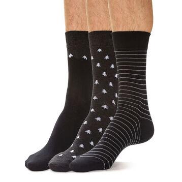 Lot de 3 chaussettes noires et anthracites hivernal Homme-DIM