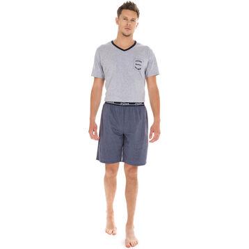 Short de pyjama bleu foncé 100% coton Homme-DIM