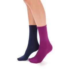 Lot de 2 paires de chaussettes bleues et lilas modal Femme-DIM