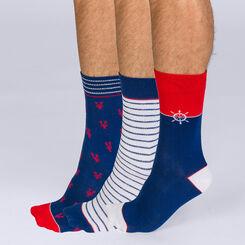 Lot de 3 mi-chaussettes motifs marins Coton Style-DIM