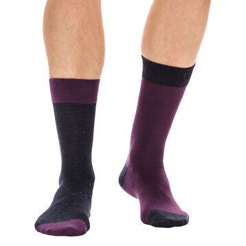 Lot de 2 paires de chaussettes grises et aubergine Homme-DIM