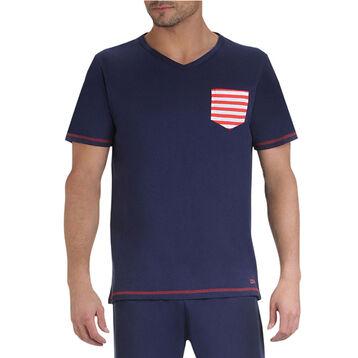 T-shirts de pyjama manches courtes bleu marine à poche Homme-DIM