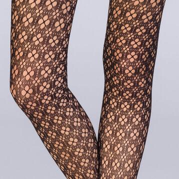 Collant résille fleurs graphiques noir Femme Les Fantaisies -DIM