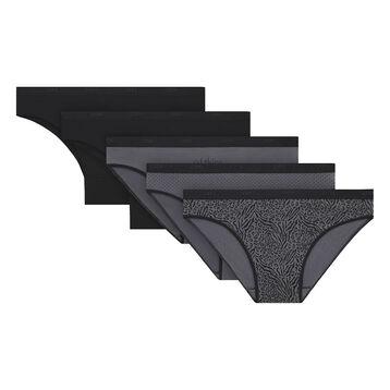 Lot de 5 slips noirs et imprimés coton stretch Les Pockets-DIM