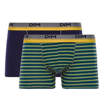 Lot de 2 boxers bleu et rayures jaunes Original Spirit-DIM