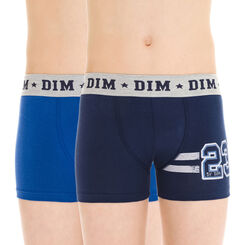 Lot de 2 boxers bleus esprit campus en coton stretch DIM Boy-DIM