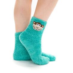 Chaussettes bleu turquoise avec tête de singe pour Enfant-DIM