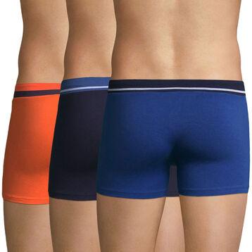 Lot de 3 boxers bleus et orange Soft Touch classique et Pop-DIM