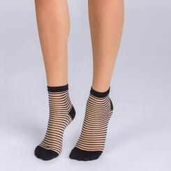 Socquettes noires et blanches à rayures ajourées Femme-DIM