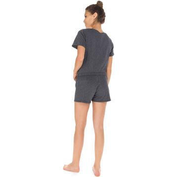 T-shirt de pyjama manches courtes gris 100% coton Femme-DIM