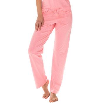 Pantalon de pyjama rose géranium 100% coton Femme-DIM
