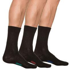 Lot de 3 paires de chaussettes noires Homme en Coton-DIM