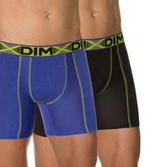 Lot de 2 boxers longs noir et bleu roi 3D Flex Air-DIM