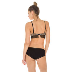 Shorty noir en coton Seductive Transparency-DIM