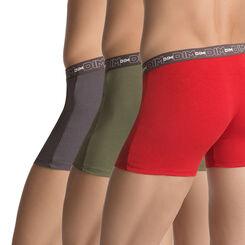 Lot de 3 boxers rouge foncé/gris plomb/kaki en coton stretch-DIM