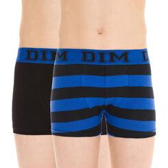 Lot de 2 boxers noir et bleu rayé en coton DIM Boy-DIM