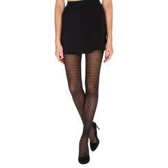 Collant noir motif feuillage Madame So Fashion 21D-DIM