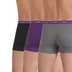 Lot de 3 boxers gris, noir et cassis en coton stretch-DIM