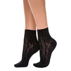 Lot de 2 paires de socquettes noires maille ajourée Femme-DIM