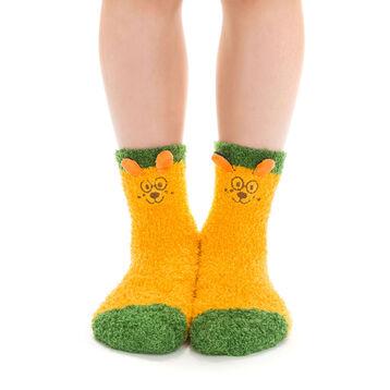 Chaussettes jaunes avec broderie ours pour Enfant-DIM