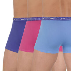 Lot de 3 boxers bleus et rose en coton stretch-DIM