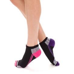 Lot de 2 socquettes noires et violettes X-Temp Sport Femme-DIM