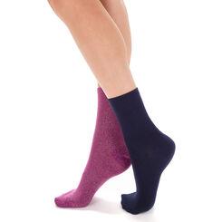 Lot de 2 chaussettes bleues et lilas brillantes Femme-DIM
