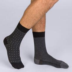Lot de 2 chaussettes noires et anthracite motif céramique Homme-DIM