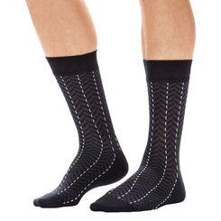 Chaussettes noires à chevrons en coton Homme-DIM