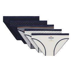 Lot de 5 slips nacre et bleus en coton stretch Les Pockets-DIM
