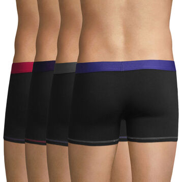 Lot de 4 boxers noirs ceintures colorées Mix & Colors-DIM