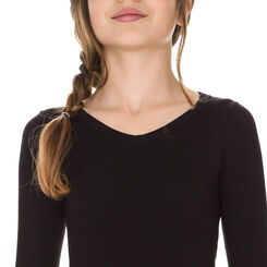 T-shirt noir manches longues en coton DIM Girl-DIM
