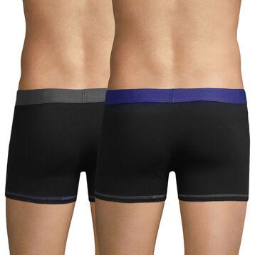Lot de 2 boxers noirs ceinture grise et bleue Mix & Colors-DIM
