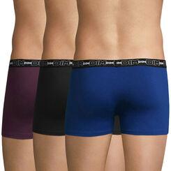 Lot de 3 boxers violet, bleu et noir Coton Stretch-DIM