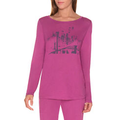 T-shirt de pyjama manches longues violet cassis Femme-DIM