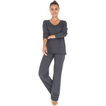 T-shirt de pyjama manches longues gris 100% coton Femme-DIM