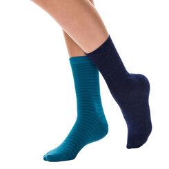 Lot de 2 paires de chaussettes bleues effet brillant Femme-DIM
