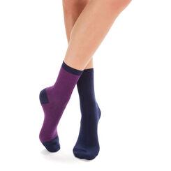 Lot de 2 paires de chaussettes rayures bleu marine Femme-DIM