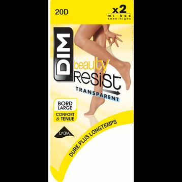 Lot de 2 Mi-Bas brun fumé Beauty Resist 20D-DIM