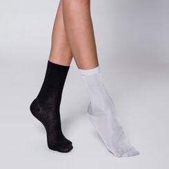 Lot de 2 paires de chaussettes argentées et noires-DIM
