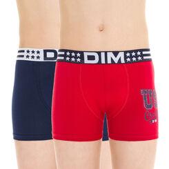 Lot de 2 boxers rouge et bleu foncé en coton DIM Boy-DIM